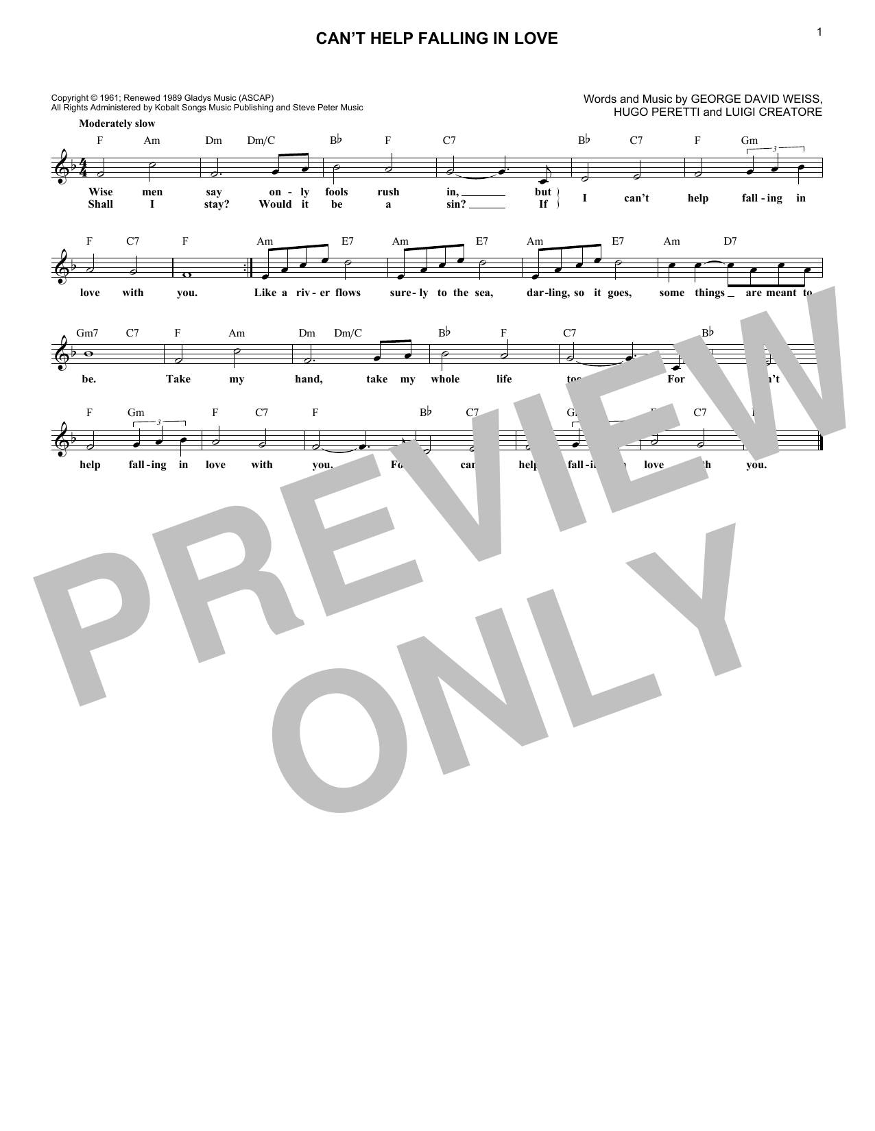 Can't Help Falling In Love (Lead Sheet / Fake Book)