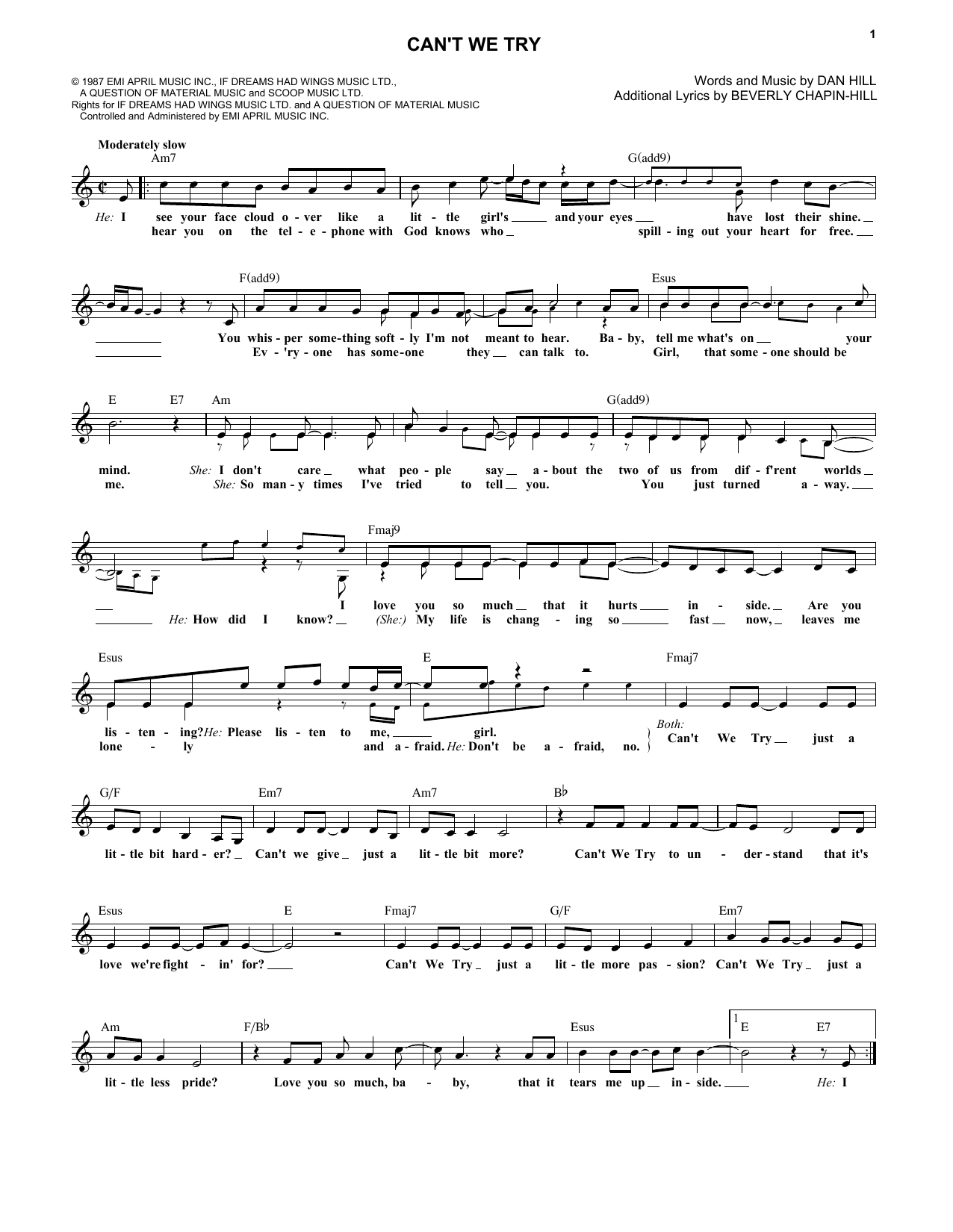 Can't We Try (Lead Sheet / Fake Book)