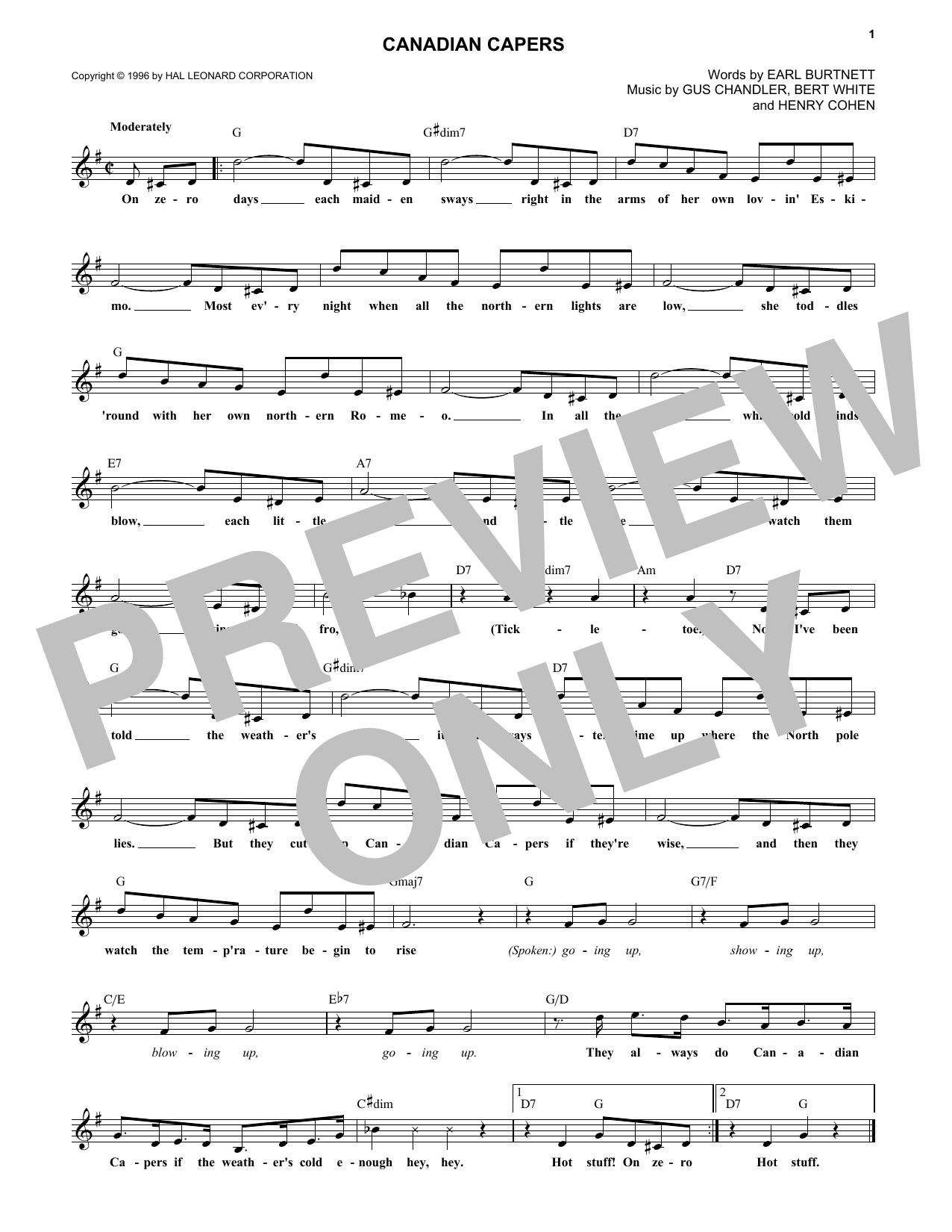 Canadian Capers (Lead Sheet / Fake Book)