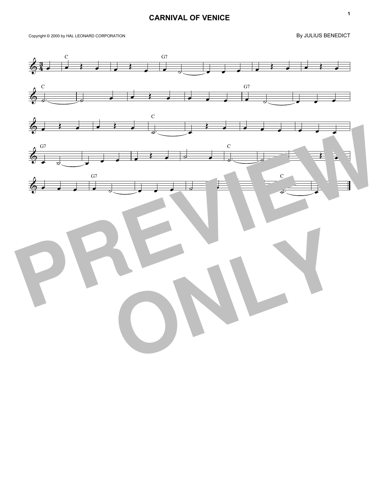 Carnival Of Venice (Lead Sheet / Fake Book)