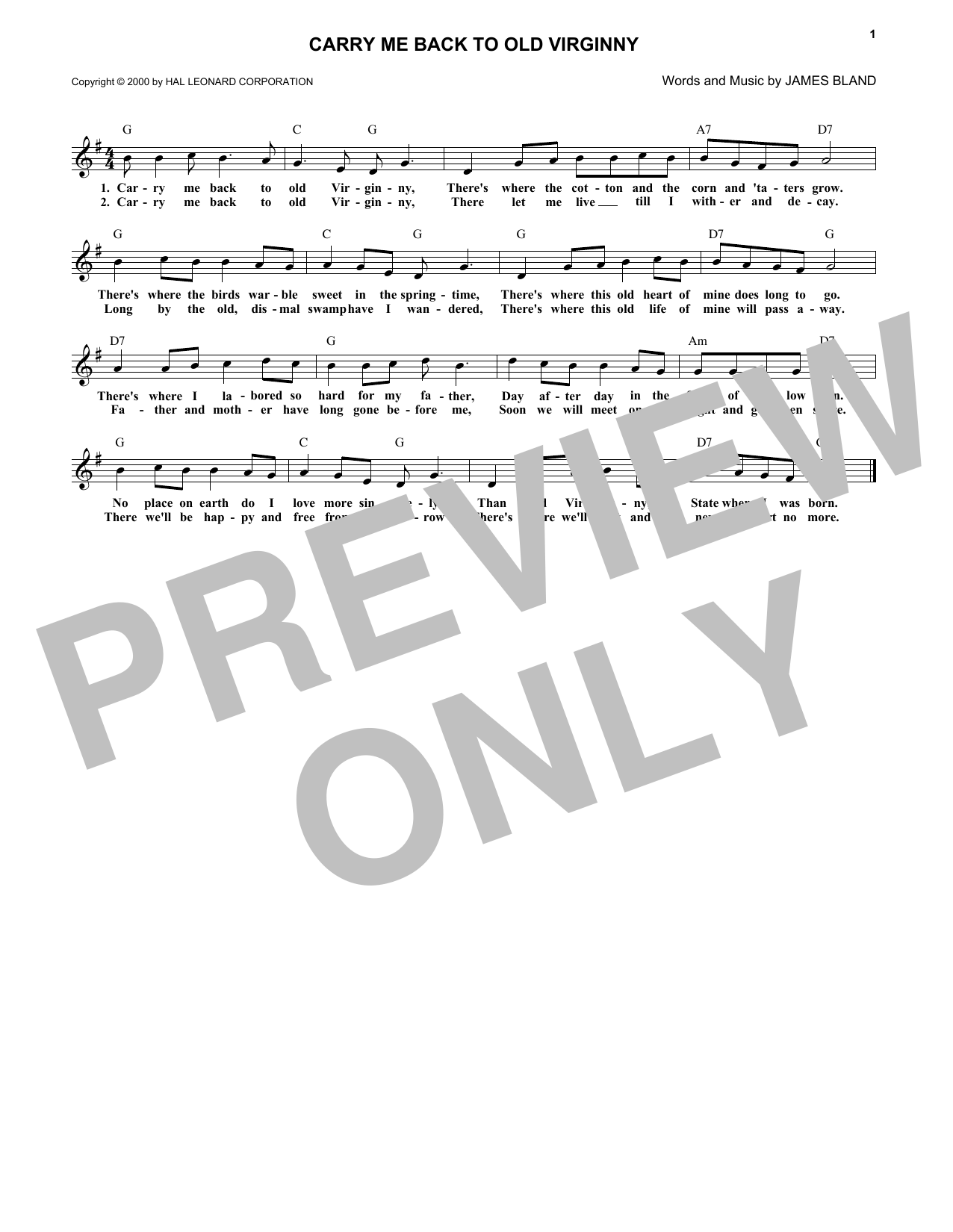 Carry Me Back To Old Virginny (Lead Sheet / Fake Book)