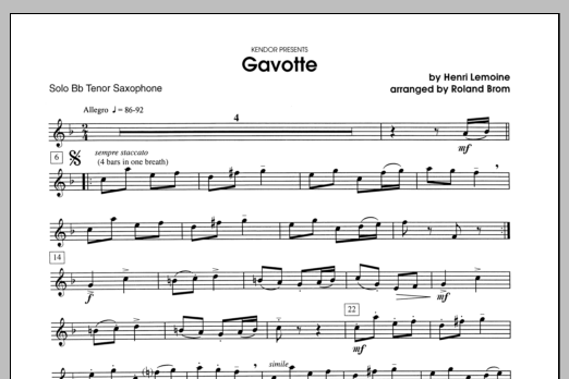 Gavotte (complete set of parts) sheet music for tenor saxophone and piano by Lemoine and Brom. Score Image Preview.