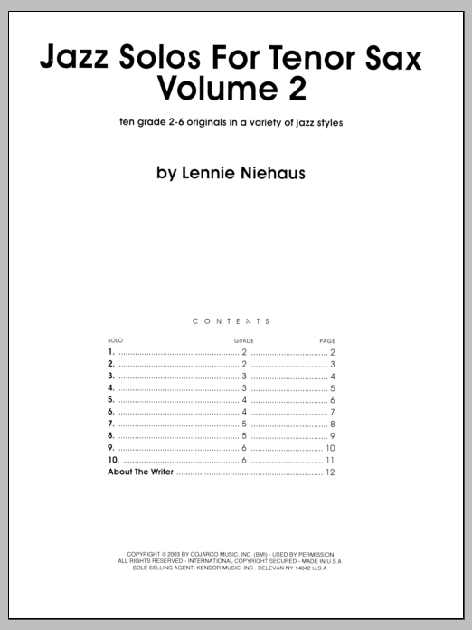 Jazz Solos For Tenor Sax, Volume 2 Sheet Music
