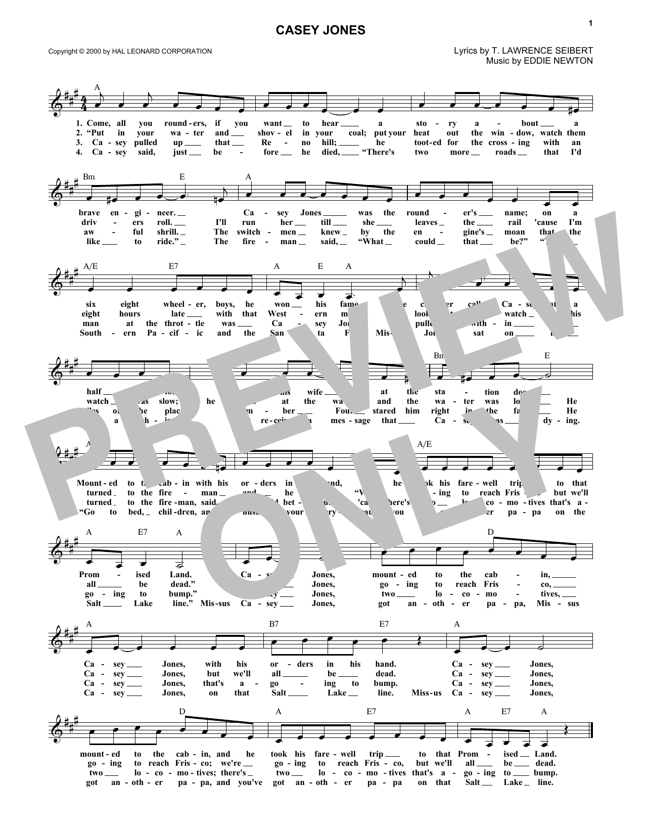 Casey Jones (Lead Sheet / Fake Book)