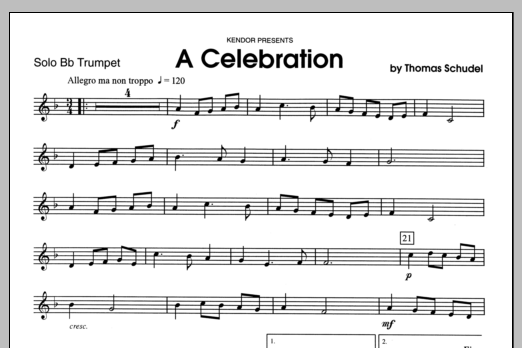 Celebration, A (complete set of parts) sheet music for trumpet and piano by Schudel. Score Image Preview.