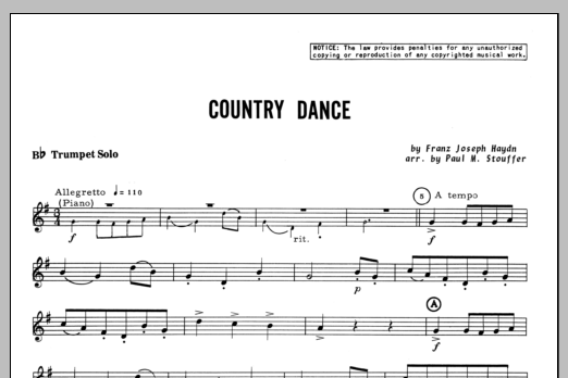 Country Dance (complete set of parts) sheet music for trumpet and piano by Franz Joseph Haydn and Stouffer. Score Image Preview.