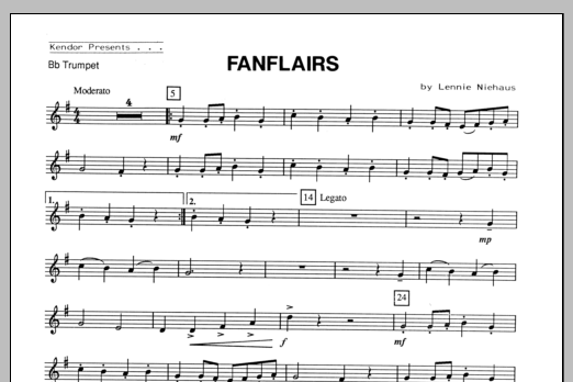 Fanflairs (complete set of parts) sheet music for trumpet and piano by Lennie Niehaus. Score Image Preview.