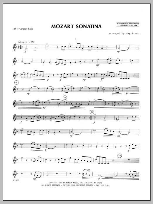 Mozart Sonatina (complete set of parts) sheet music for trumpet and piano by Ernst, Heinrich Wilhelm and Wolfgang Amadeus Mozart. Score Image Preview.