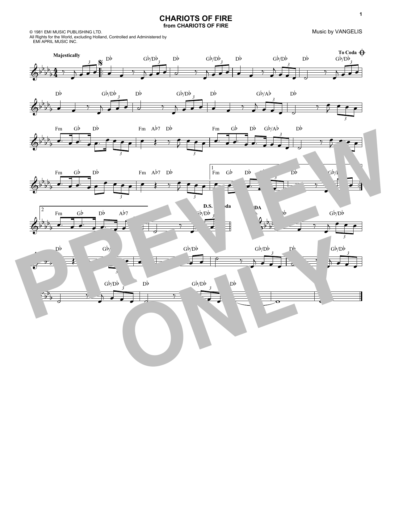 Chariots Of Fire (Lead Sheet / Fake Book)