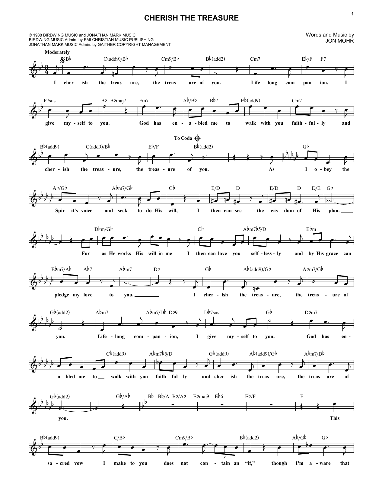 Cherish The Treasure (Lead Sheet / Fake Book)