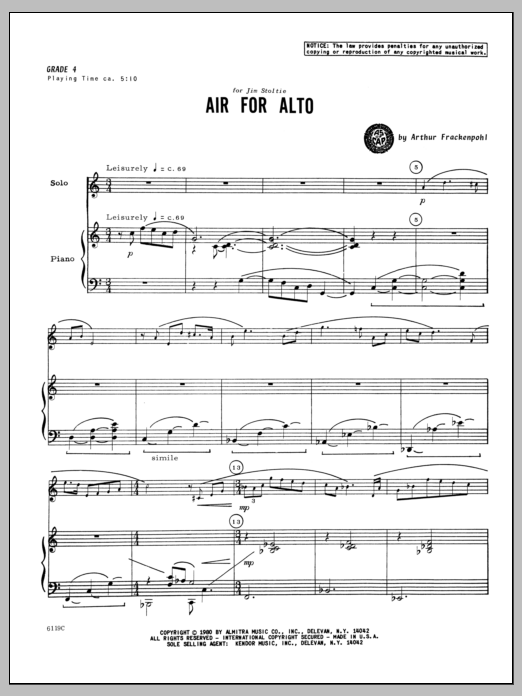Air For Alto - Piano Sheet Music