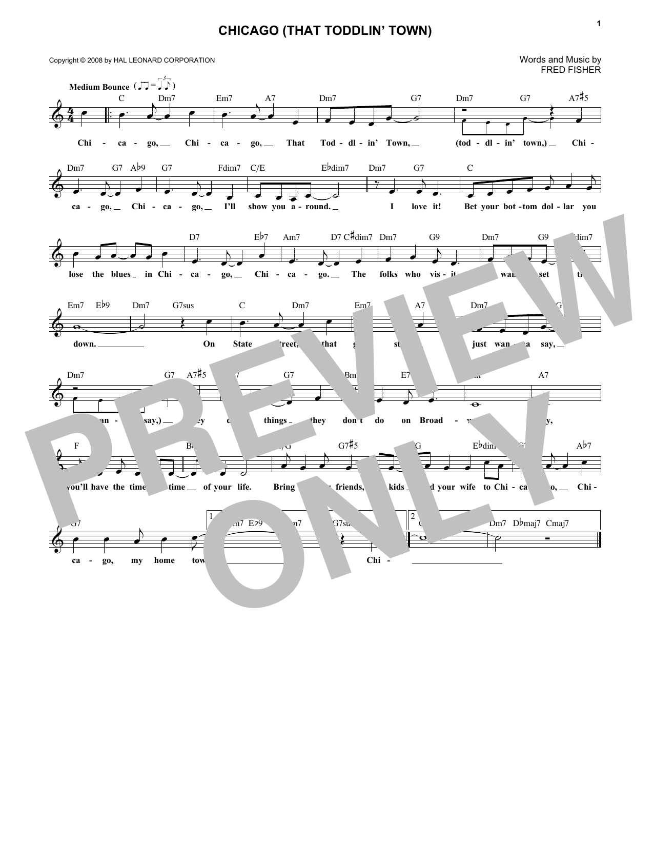 Chicago (That Toddlin' Town) (Lead Sheet / Fake Book)