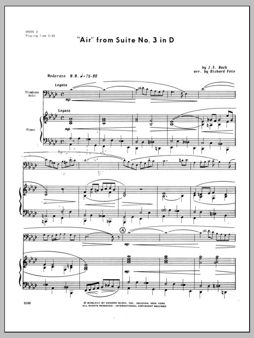 Air From Suite #3 In D - Piano Sheet Music