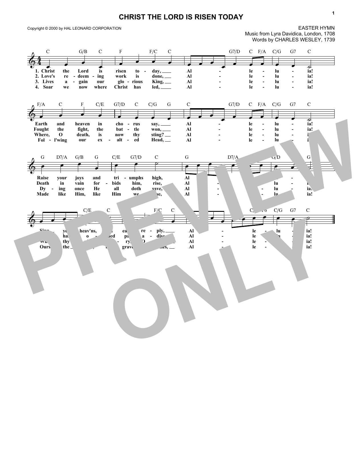 Christ The Lord Is Risen Today (Lead Sheet / Fake Book)