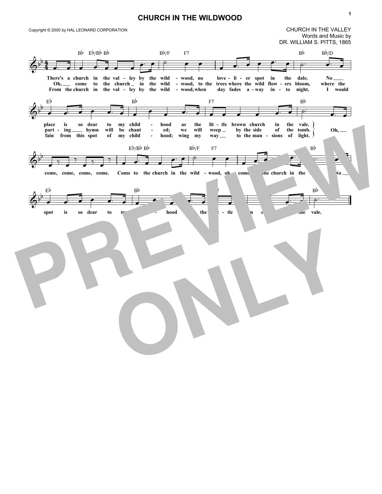 Church In The Wildwood (Lead Sheet / Fake Book)