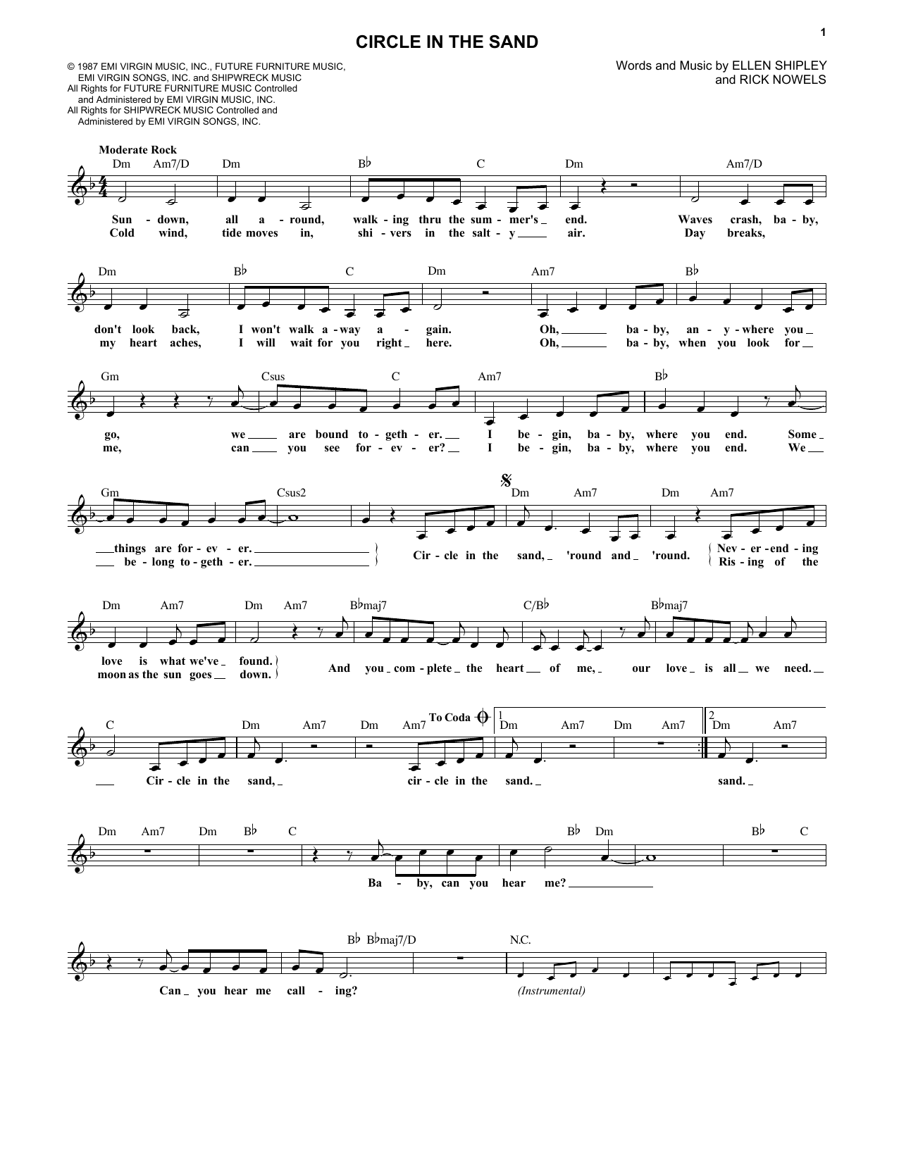 Circle In The Sand (Lead Sheet / Fake Book)
