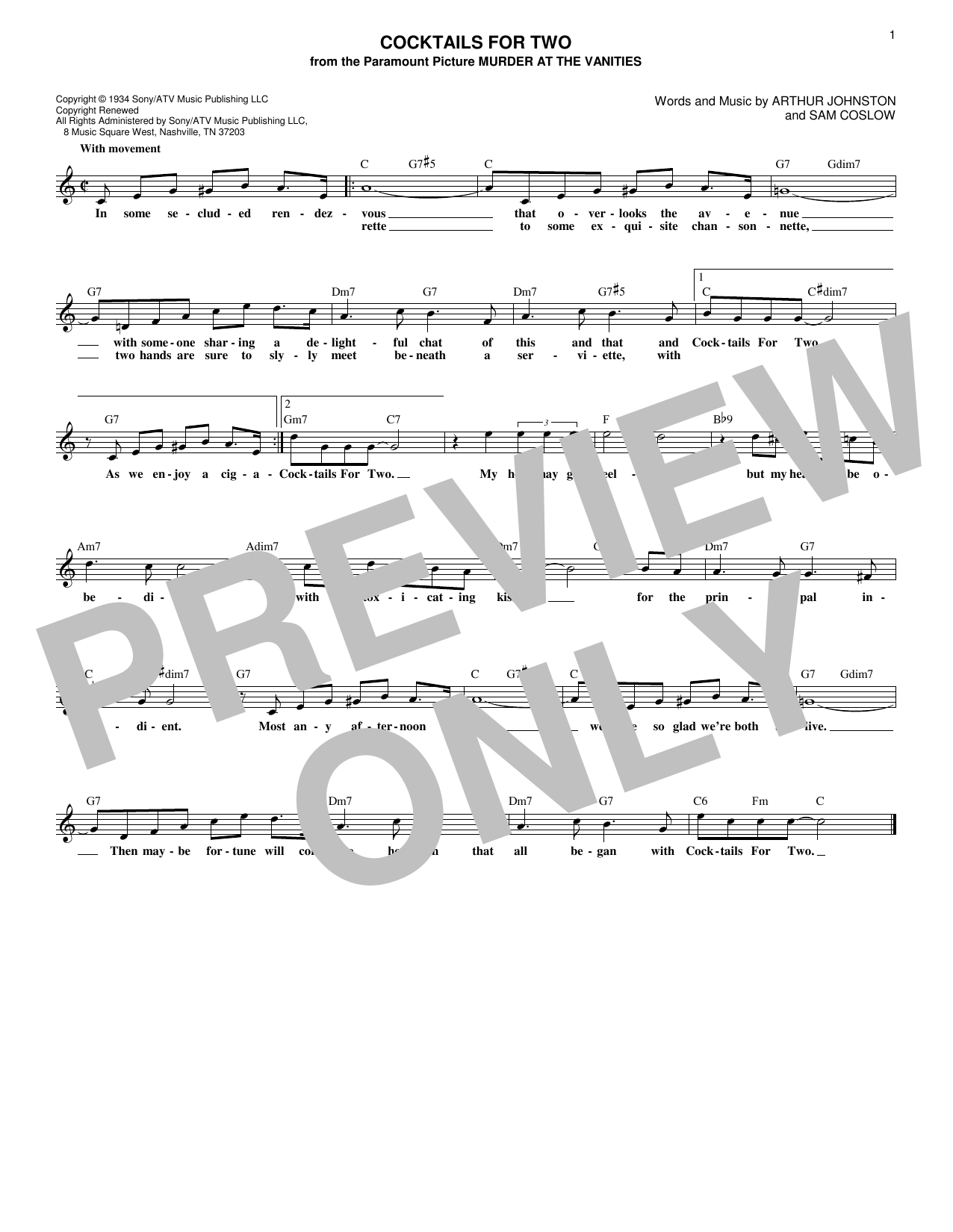 Cocktails For Two (Lead Sheet / Fake Book)
