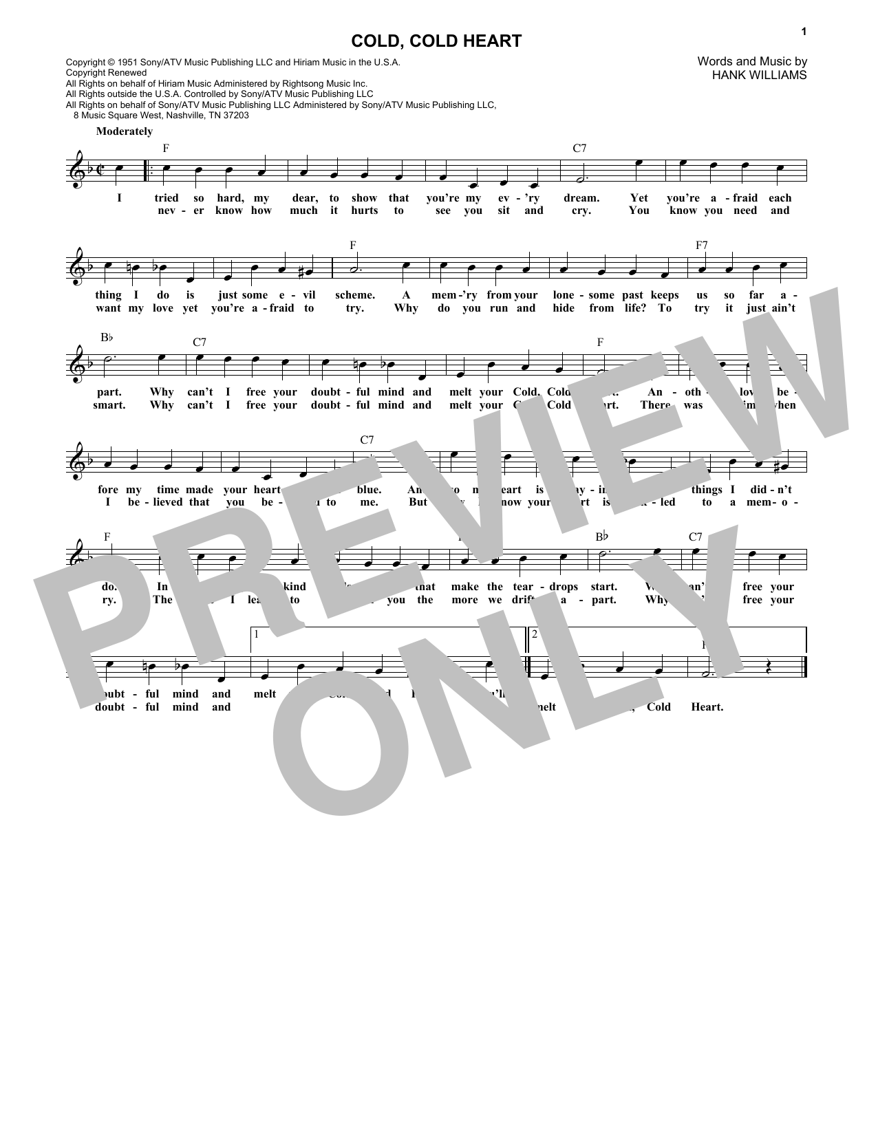 Cold, Cold Heart (Lead Sheet / Fake Book)