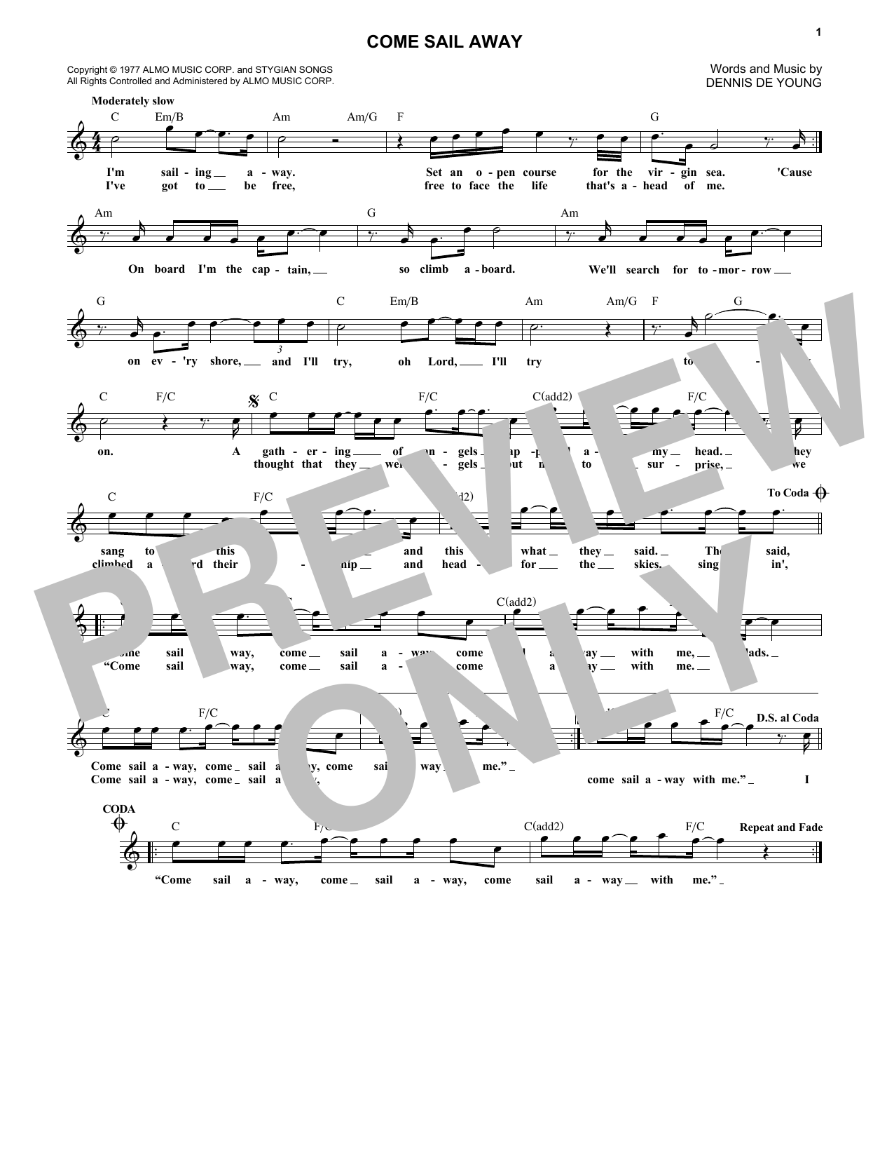 Come Sail Away (Lead Sheet / Fake Book)