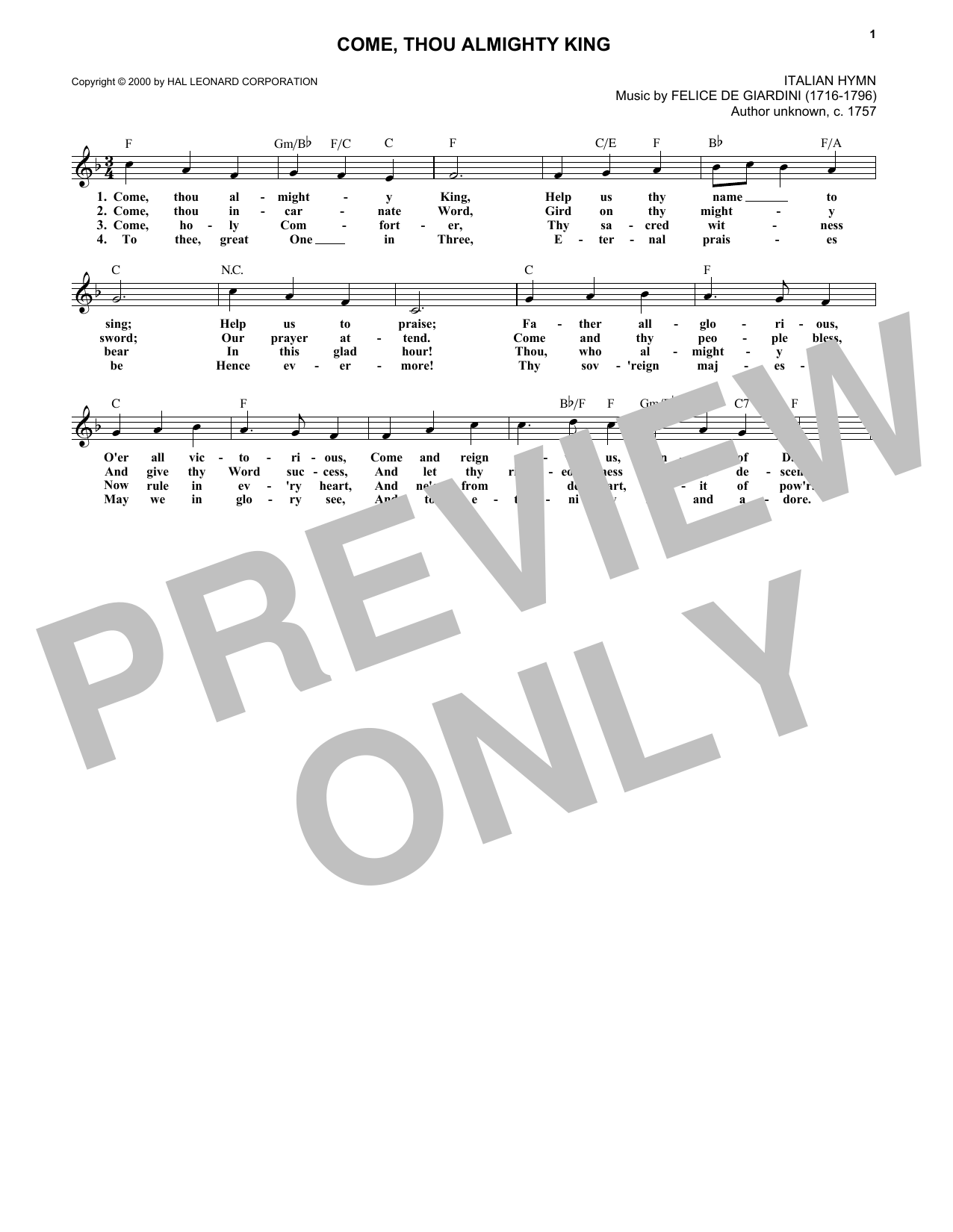 Come, Thou Almighty King (Lead Sheet / Fake Book)