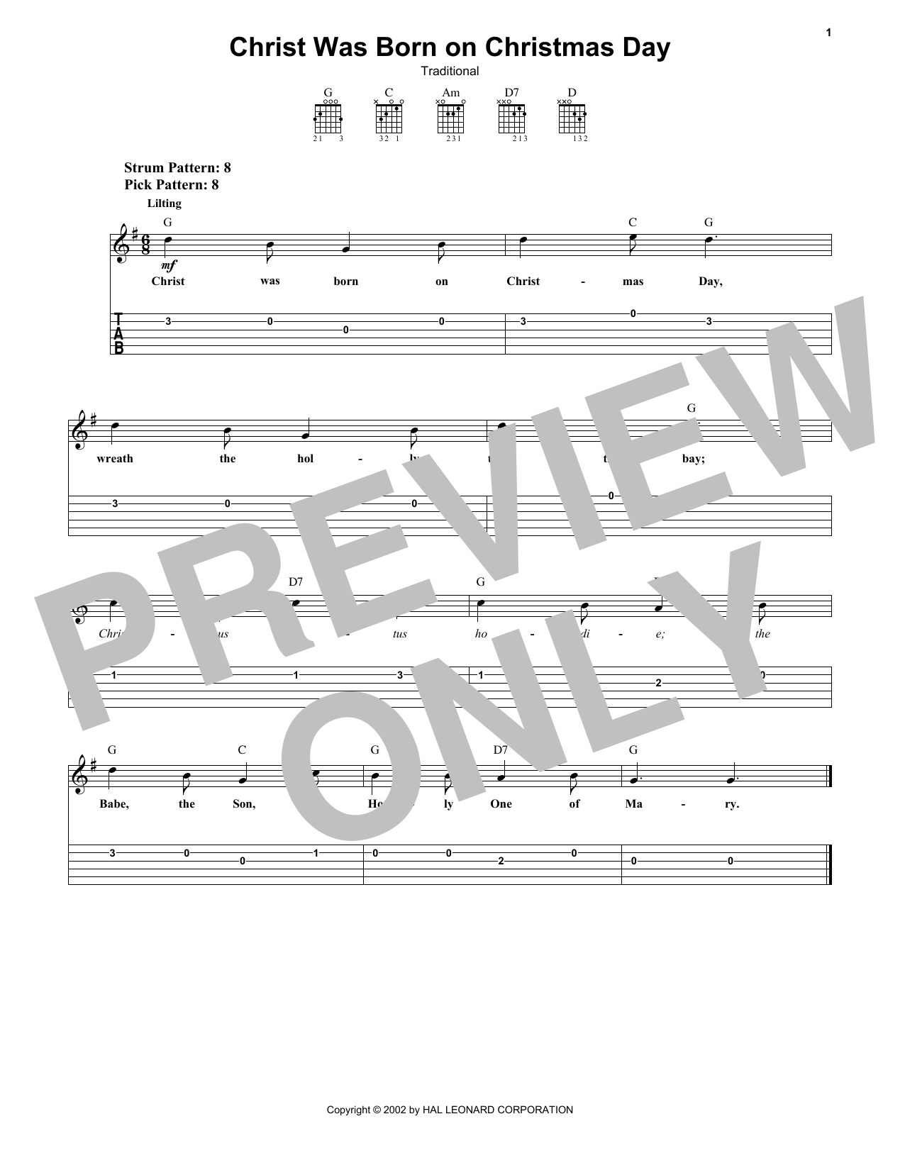 Christ Was Born On Christmas Day (Easy Guitar Tab)