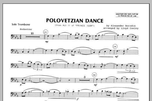 Polovetzian Dance (from Act II of Prince Igor) (complete set of parts) sheet music for trombone and piano by Conley and Alexander Borodin. Score Image Preview.