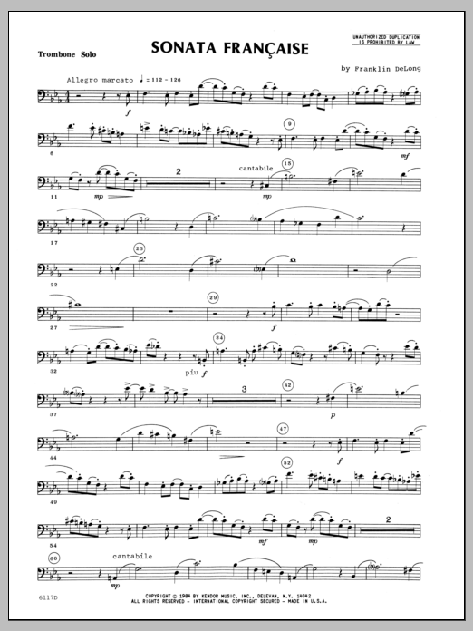 Sonata Francaise (complete set of parts) sheet music for trombone and piano by Delong. Score Image Preview.