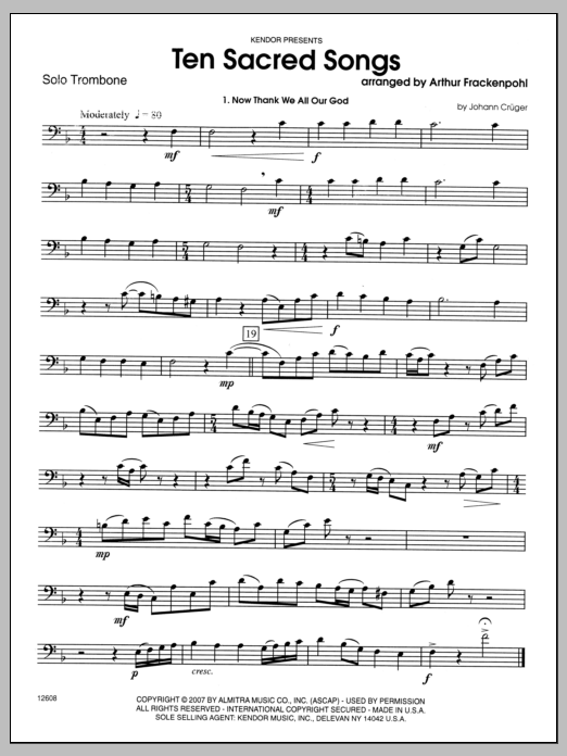 Ten Sacred Songs (complete set of parts) sheet music for trombone and piano by Arthur Frackenpohl. Score Image Preview.