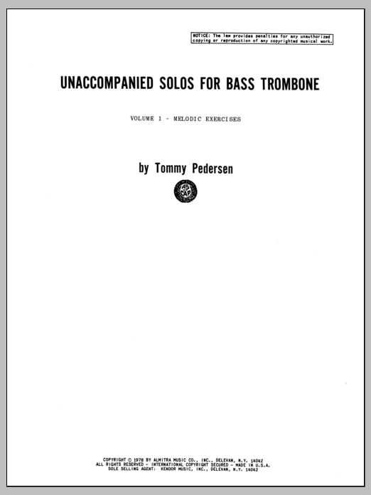 Unaccompanied Solos For Bass Trombone, Volume 1 Sheet Music