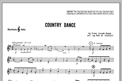 Country Dance - Baritone T.C. Sheet Music