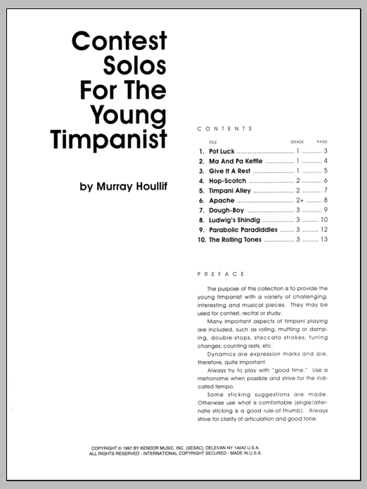 Contest Solos For The Young Timpanist Sheet Music