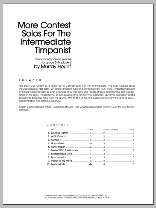 More Contest Solos For The Intermediate Timpanist Partition Digitale