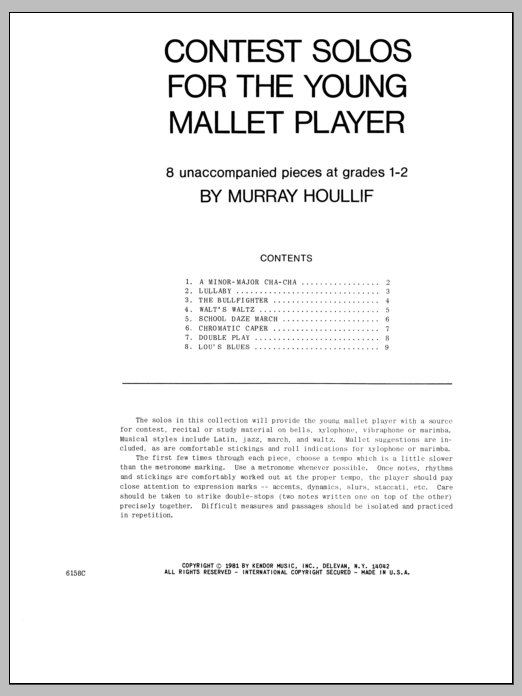 Contest Solos For The Young Mallet Player Sheet Music