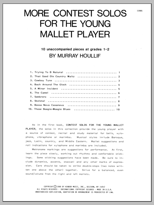 More Contest Solos For The Young Mallet Player Sheet Music