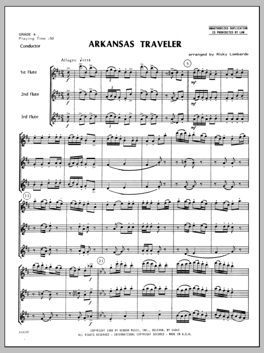 Arkansas Traveler - Full Score Sheet Music