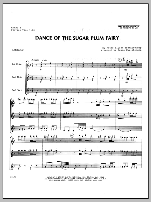 Dance Of The Sugar Plum Fairy (COMPLETE) sheet music for flute quartet by Christensen and Pyotr Ilyich Tchaikovsky. Score Image Preview.