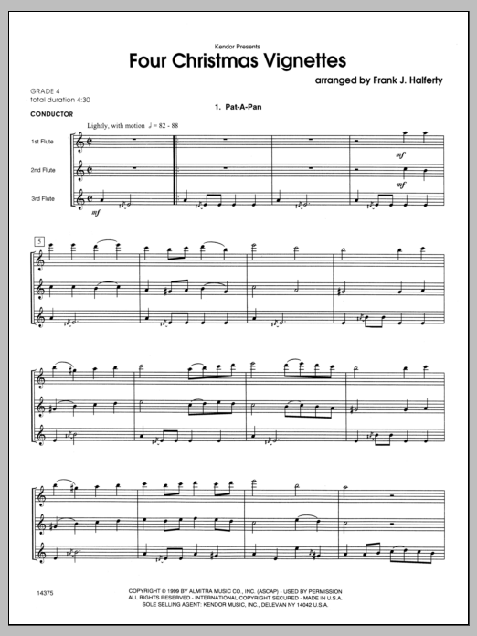 Four Christmas Vignettes (COMPLETE) sheet music for flute trio by Halferty. Score Image Preview.