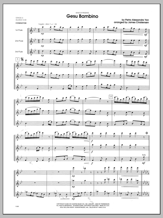 Gesu Bambino (COMPLETE) sheet music for flute quartet by Christensen and Yon. Score Image Preview.