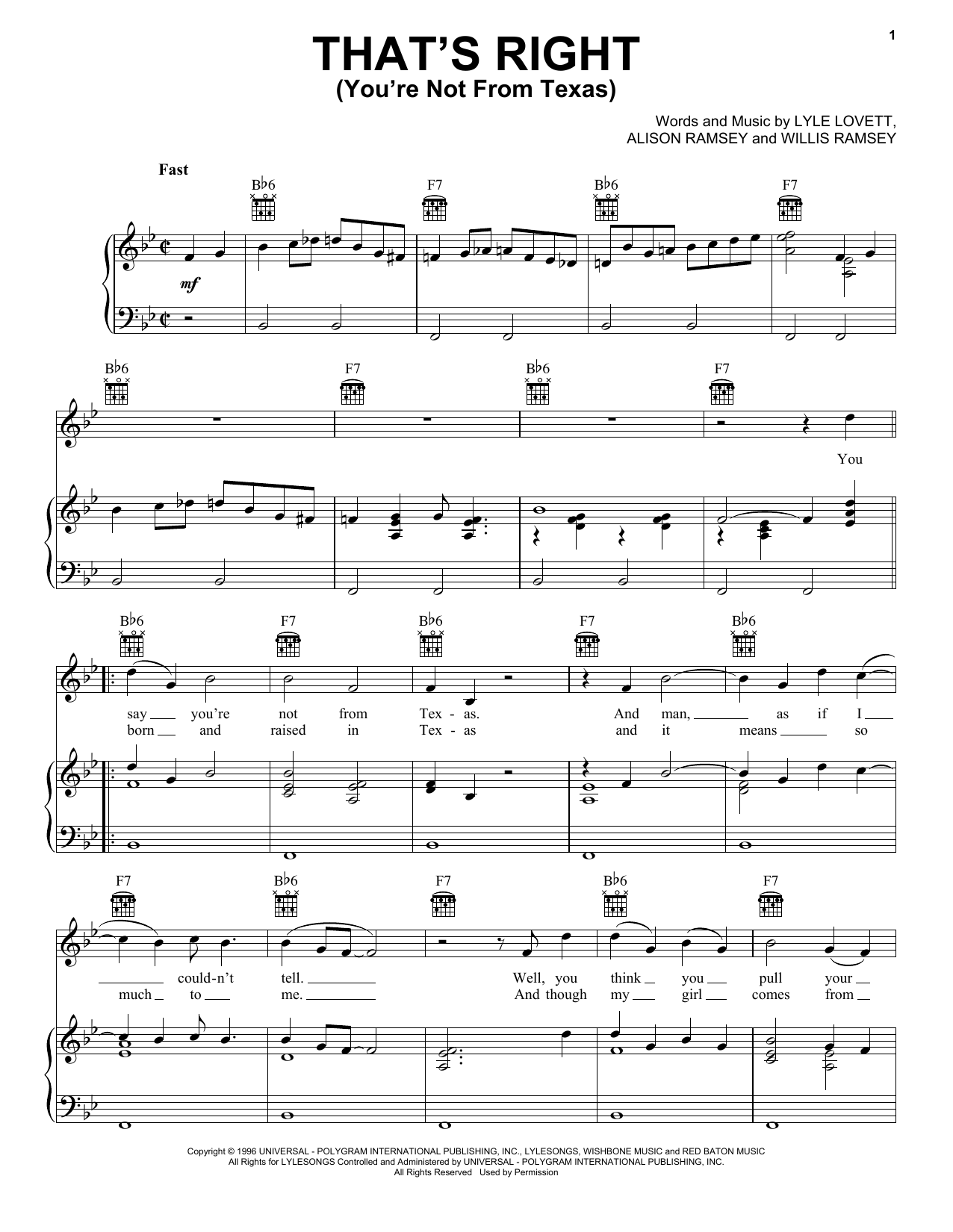 That's Right (You're Not From Texas) Sheet Music