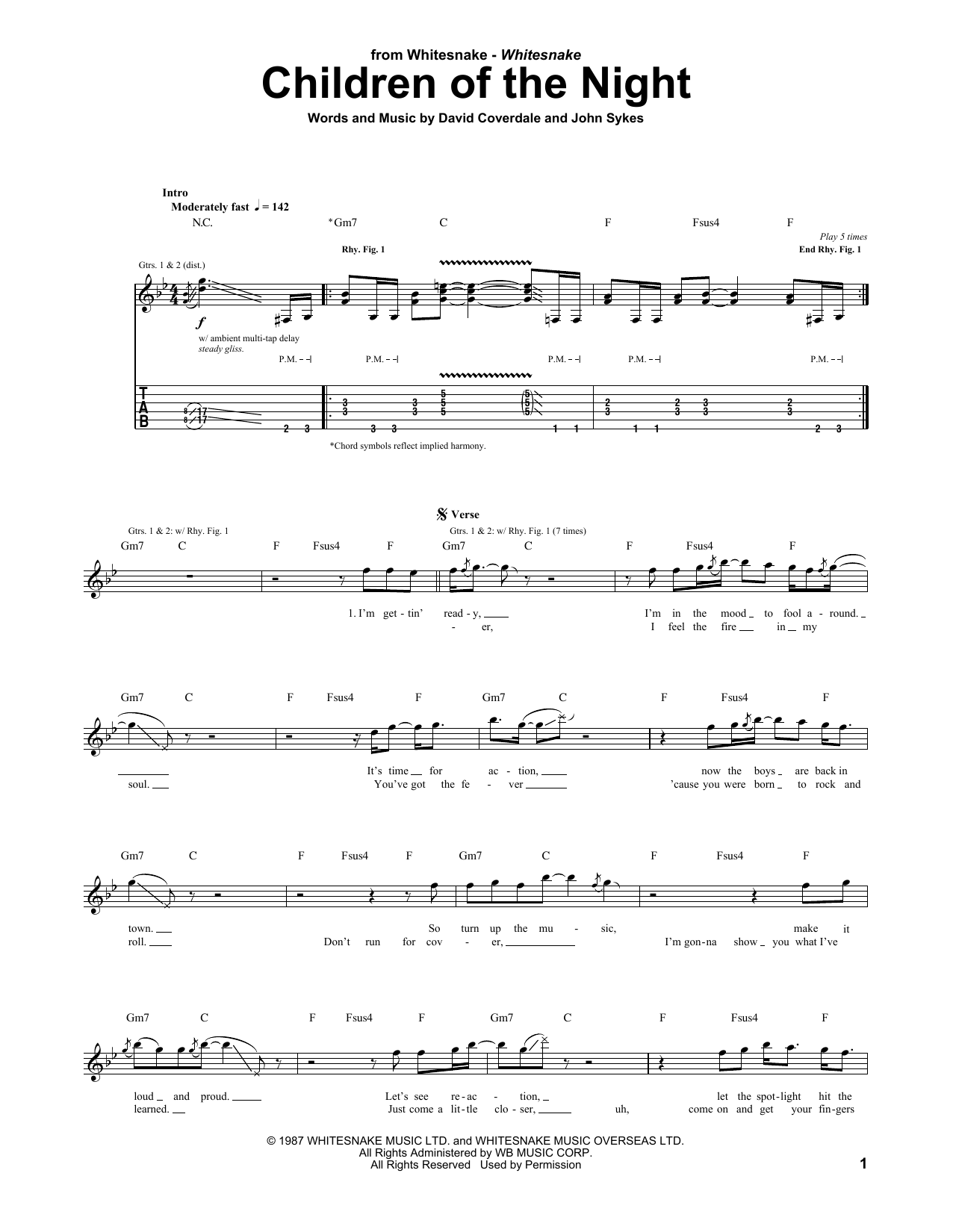 Children Of The Night (Guitar Tab)