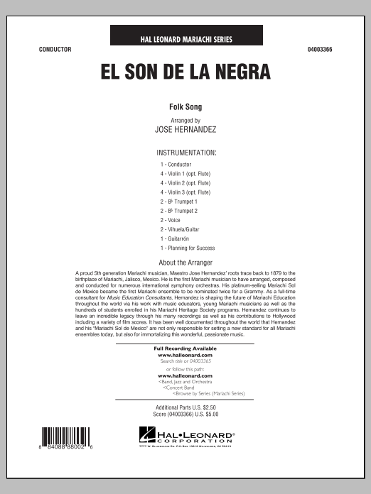 El Son de la Negra (COMPLETE) sheet music for concert band by Jose Hernandez. Score Image Preview.