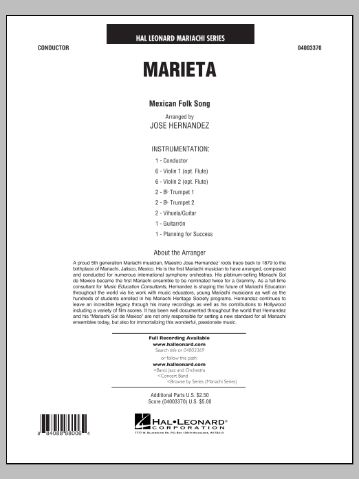 Marieta (COMPLETE) sheet music for concert band by Jose Hernandez and Mexican Folksong. Score Image Preview.