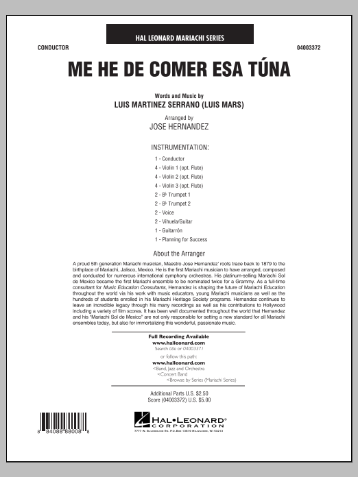 Me He de Comer Esa Tuna (COMPLETE) sheet music for concert band by Luis Martinez Serrano. Score Image Preview.