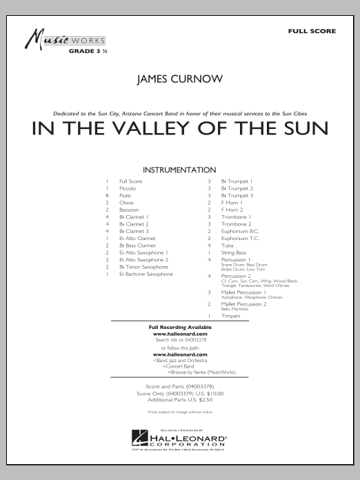 In the Valley of the Sun (COMPLETE) sheet music for concert band by James Curnow. Score Image Preview.
