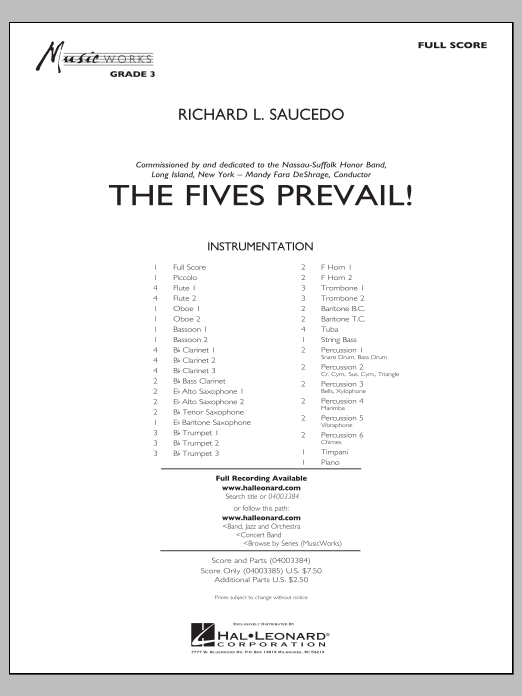 The Fives Prevail! (COMPLETE) sheet music for concert band by Richard L. Saucedo. Score Image Preview.