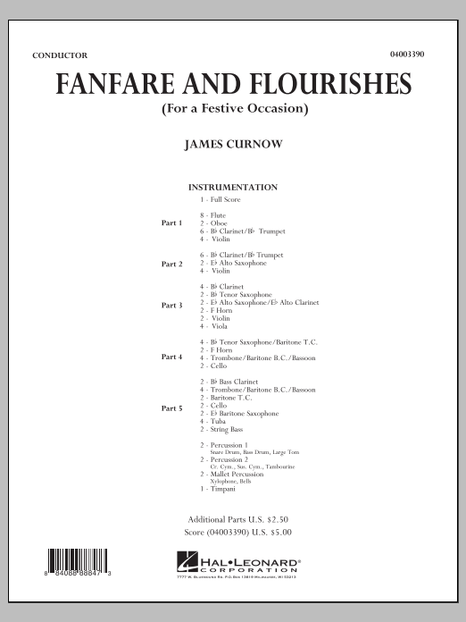 Fanfare and Flourishes (for a Festive Occasion) (COMPLETE) sheet music for concert band by James Curnow. Score Image Preview.