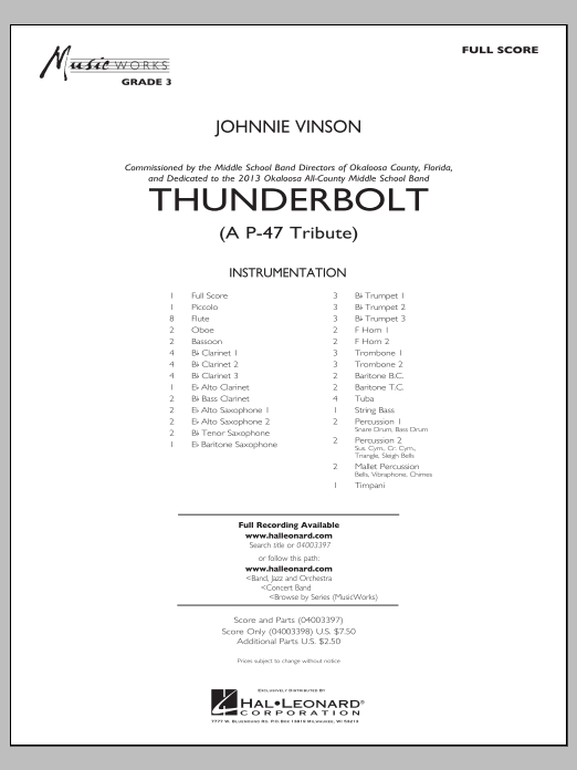 Thunderbolt (A P-47 Tribute) (COMPLETE) sheet music for concert band by Johnnie Vinson. Score Image Preview.