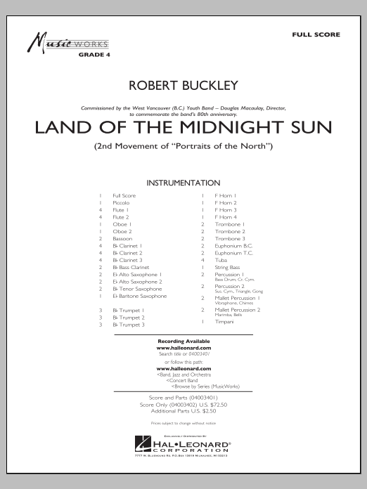 Land of the Midnight Sun (COMPLETE) sheet music for concert band by Robert Buckley. Score Image Preview.