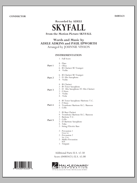 Skyfall (COMPLETE) sheet music for concert band by Johnnie Vinson and Adele. Score Image Preview.