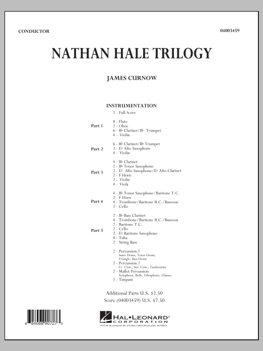 Nathan Hale Trilogy (COMPLETE) sheet music for concert band by James Curnow. Score Image Preview.